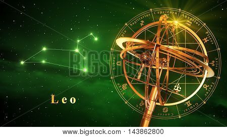 Armillary Sphere And Constellation Leo Over Green Background. 3D Illustration.
