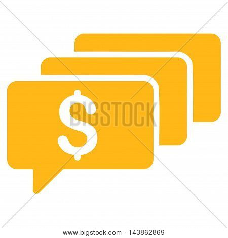 Money Messages icon. Vector style is flat iconic symbol with rounded angles, yellow color, white background.