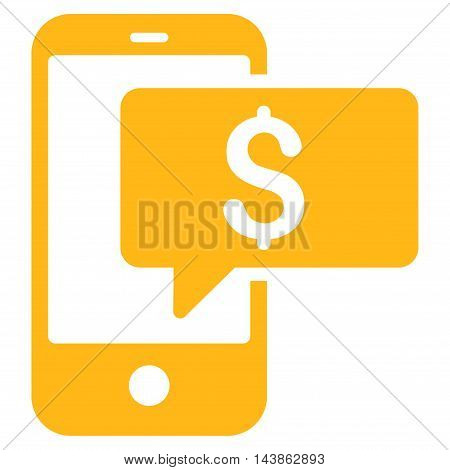 Money Phone SMS icon. Vector style is flat iconic symbol with rounded angles, yellow color, white background.