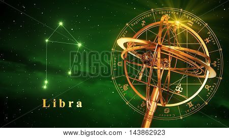 Armillary Sphere And Constellation Libra Over Green Background. 3D Illustration.