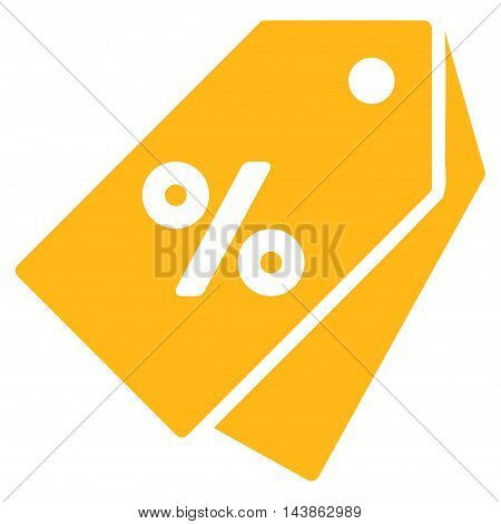 Percent Discount Tags icon. Vector style is flat iconic symbol with rounded angles, yellow color, white background.