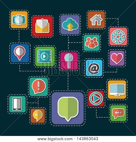 frames bubble email smartphone computer heart house social network communication media con. Colorful and flat design. Vector illustration