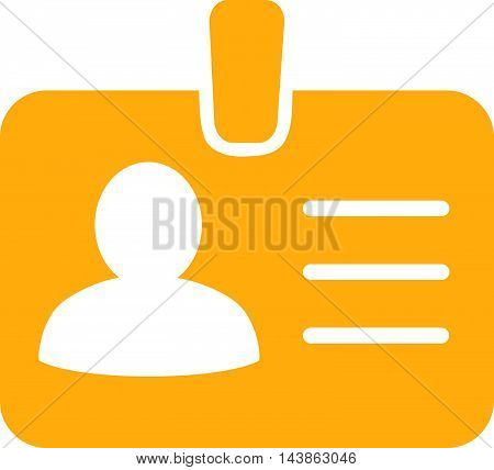 Person Badge icon. Vector style is flat iconic symbol with rounded angles, yellow color, white background.