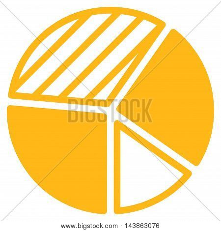 Pie Chart icon. Vector style is flat iconic symbol with rounded angles, yellow color, white background.