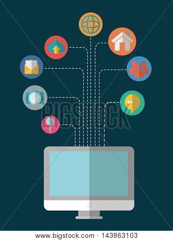 computer bubble lupe camera email cloud social network communication media con. Colorful and flat design. Vector illustration