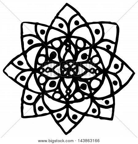 Monochrome black and white circle mandala doodle vector