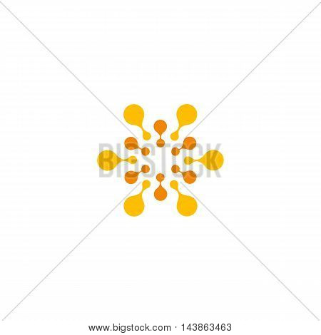 Vector isolated sun logo design template. Abstract dots symbol. Icon round shape