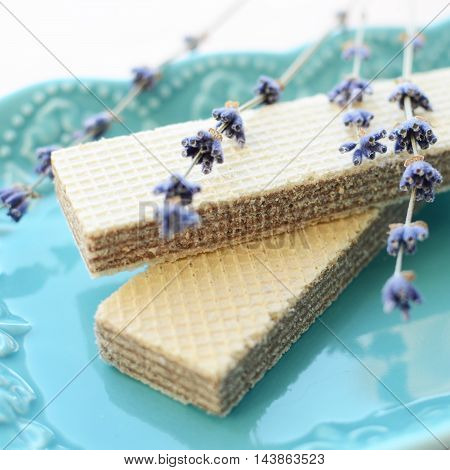 Wafers With Lavender On A Plate