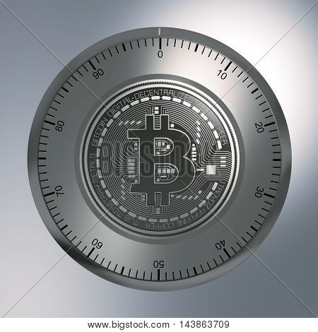 Concept Of Bitcoin Like A Security Lock. 3D Illustration.