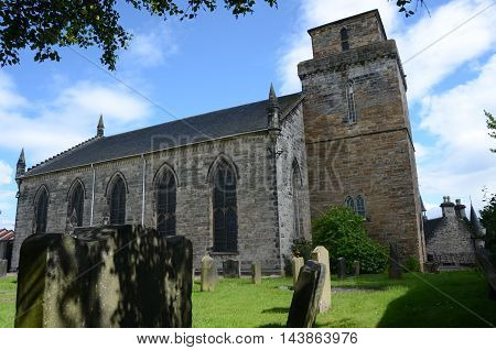 A view of the old kirk and graveyard in Kirkcaldy