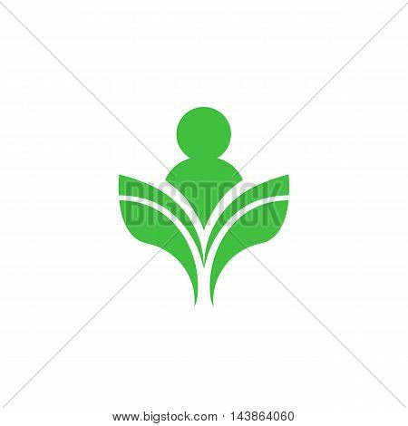 Isolated abstract green color human silhouette vector logo. Unusual reading man contour logotype. Opened book vector illustration. Education symbol