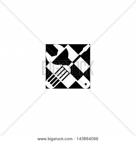 Isolated black color technical tools vector logo. Mechanical equipment logotype. Round shape vector illustration. Adjustable wrench and screwdriver image