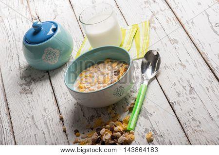 breakfast with muesli and milk