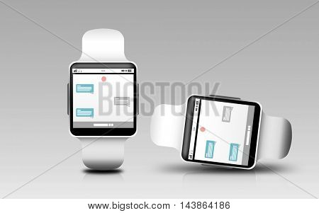 modern technology, online communication, object, responsive design and media concept - smart watches with messenger application on screen over gray background