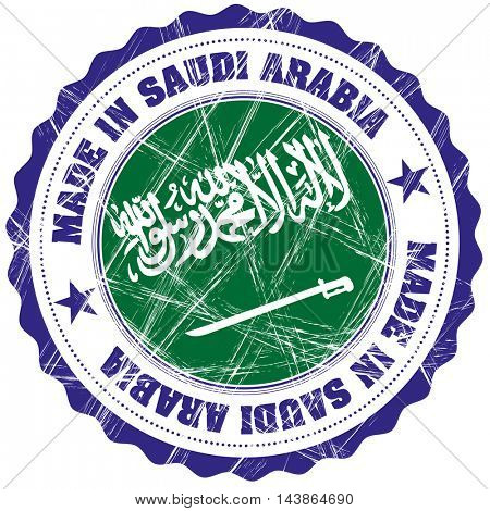 Made in Saudi Arabia grunge rubber stamp with flag