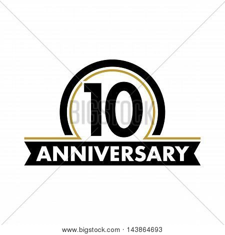 Anniversary vector unusual label. Tenth anniversary symbol. 10 years birthday abstract logo. The arc in a circle. 10th jubilee