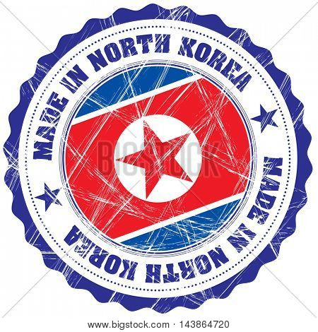 Made in North Korea grunge rubber stamp with flag