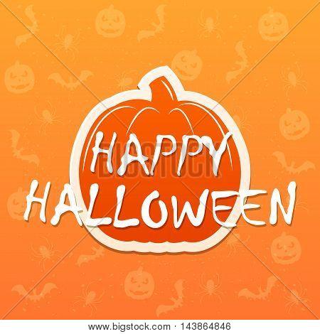 Flat pumpkin on orange background with inscription Happy Halloween, illustration.