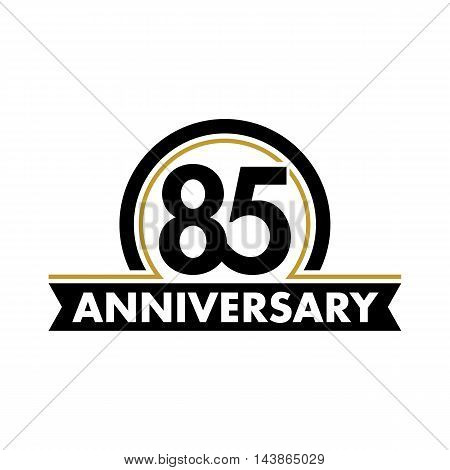 Anniversary vector unusual label. Seventieth anniversary symbol. Birthday abstract logo. The arc in a circle. 80th jubilee