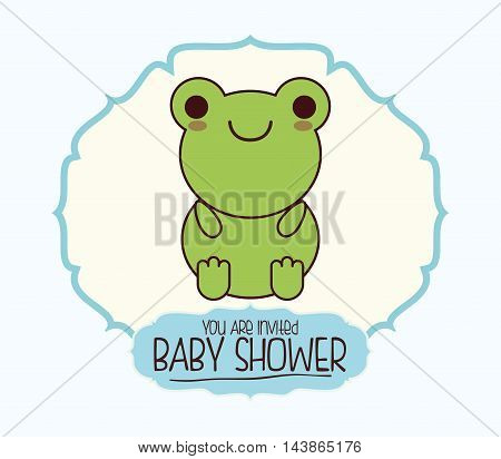 toad kawaii cartoon smiling baby shower icon. Colorful and seal stamp design. Vector illustration
