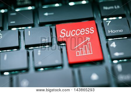 Success button enter key high quality and high resolution studio shoot