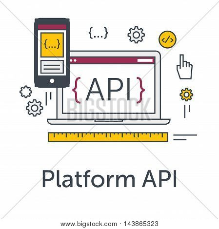 Thin line flat design concept banner for software development. Platform API icon. Programming language, testing and bug fixing on laptop and smartphone. Modern vector illustration