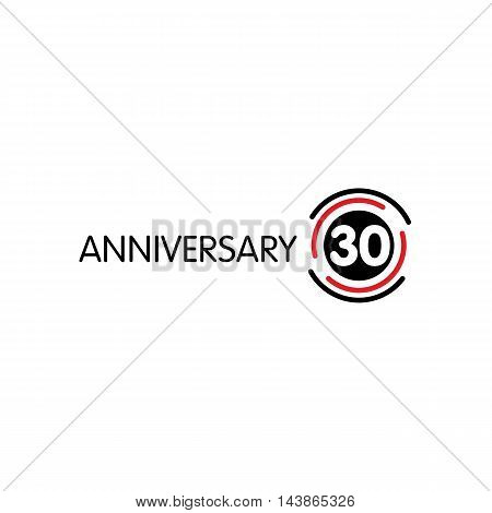 Anniversary vector unusual label. Thirtieth anniversary symbol. 30 years birthday abstract logo. The arc in a circle. 30th jubilee