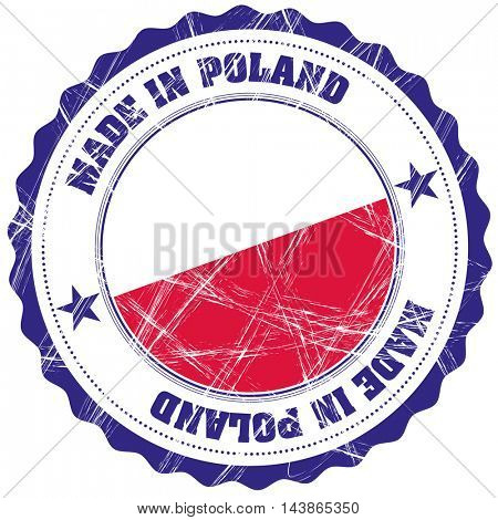 Made in Poland grunge rubber stamp with flag