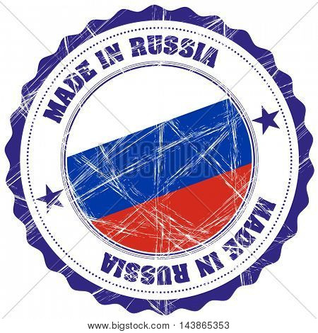 Made in Russia grunge rubber stamp with flag