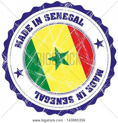 Made in Senegal grunge rubber stamp with flag
