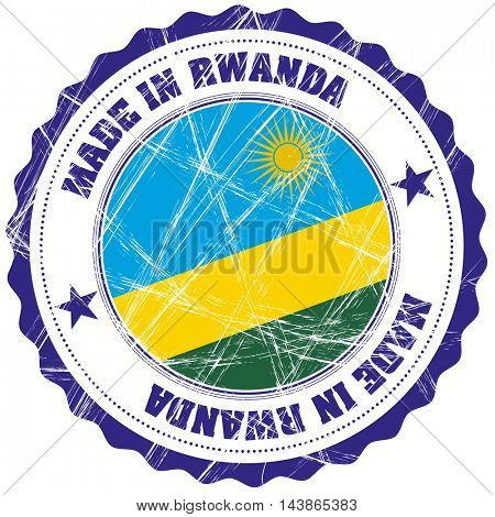 Made in Rwanda grunge rubber stamp with flag