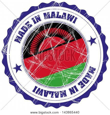 Made in Malawi grunge rubber stamp with flag