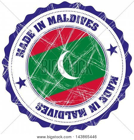 Made in Maldives grunge rubber stamp with flag