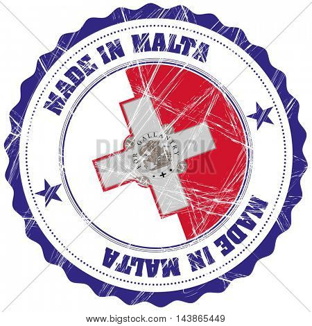 Made in Malta grunge rubber stamp with flag