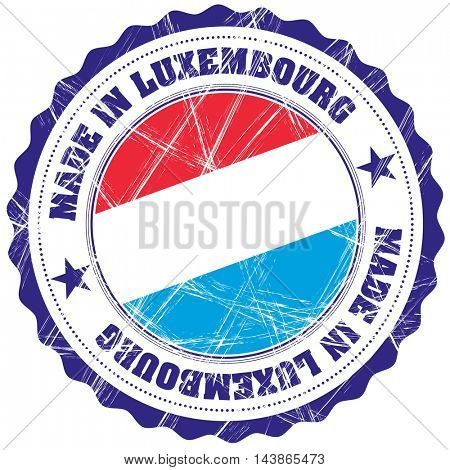Made in Luxembourg grunge rubber stamp with flag
