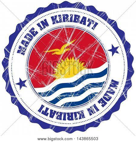 Made in Kiribati grunge rubber stamp with flag