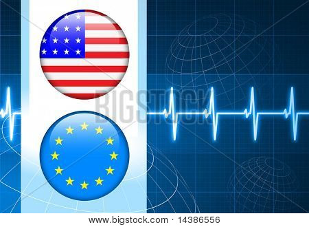 America and European Union Flag Internet Buttons on pulse Background Original Vector Illustration