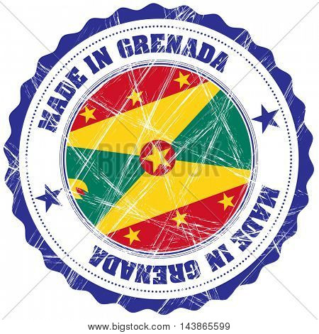 Made in Grenada grunge rubber stamp with flag