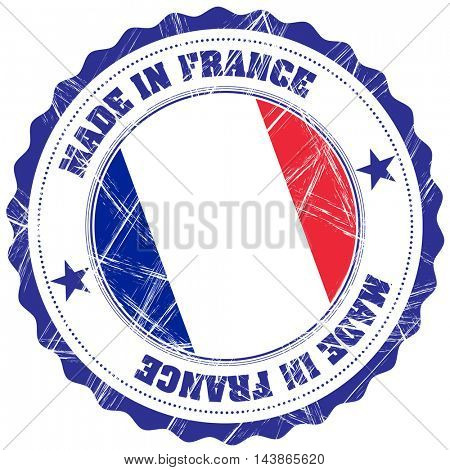 Made in France grunge rubber stamp with flag