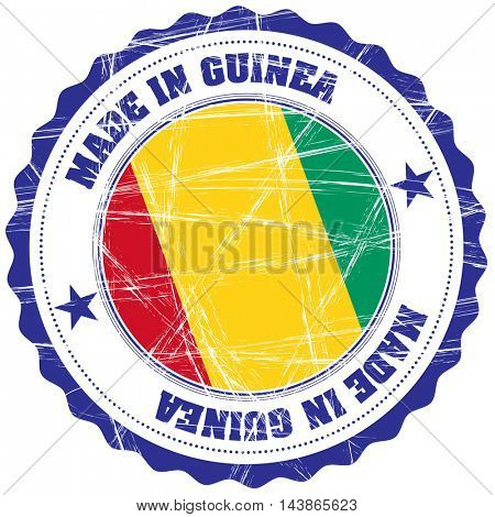 Made in Guinea grunge rubber stamp with flag