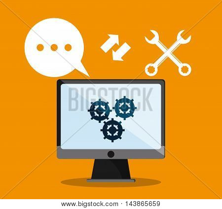 computer tools gear call center technical service icon. Colorful design. Vector illustration