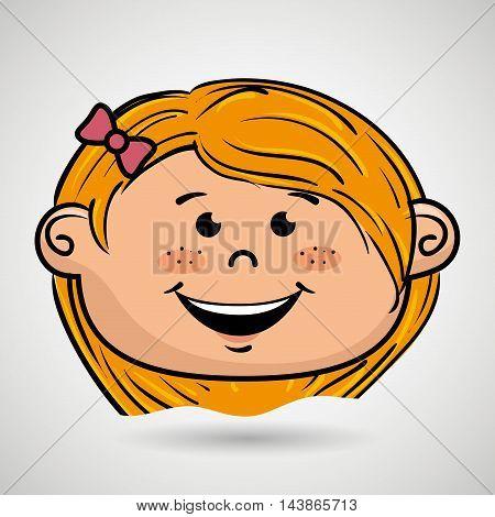 cartoon childhood face icon vector illustration design