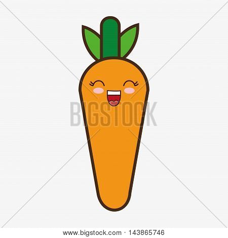 carrot kawaii cartoon smiling healthy food icon. Colorful and flat design. Vector illustration