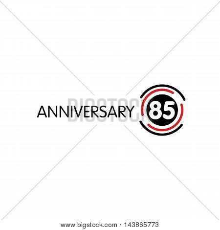 Anniversary vector unusual label. Eighty-fifth anniversary symbol. 85th years birthday abstract logo. The arc in a circle