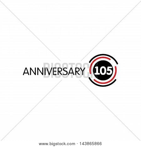 Anniversary vector unusual label. One hundred fifth anniversary symbol. 105 years birthday abstract logo. The arc in a circle. 105th jubilee