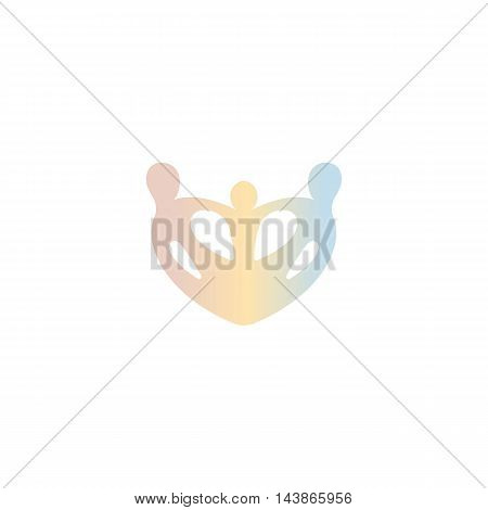 Isolated abstract crown vector logo. Pink, yellow, blue color accessories element logotype. Royal family attribute in a shape of a heart. Jewelry store label