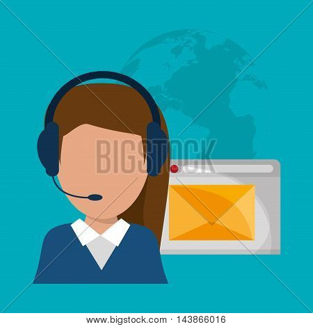 woman headphone envelope avatar call center technical service icon. Colorful design. Vector illustration