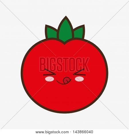 tomato kawaii cartoon smiling healthy food icon. Colorful and flat design. Vector illustration