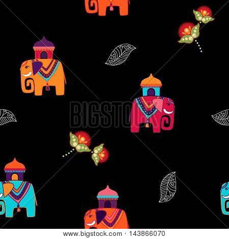 Black seamless vector pattern with cartoon elephants and flowers. Colorful indian backdrop