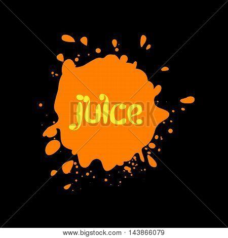 Spray blots, juice stain unusual modern logo. Beverage vector background. Spatter illustration
